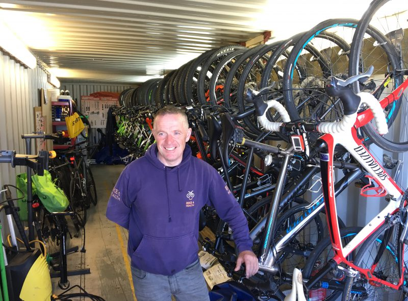 Bike4Health's David Buchan with his shipping container